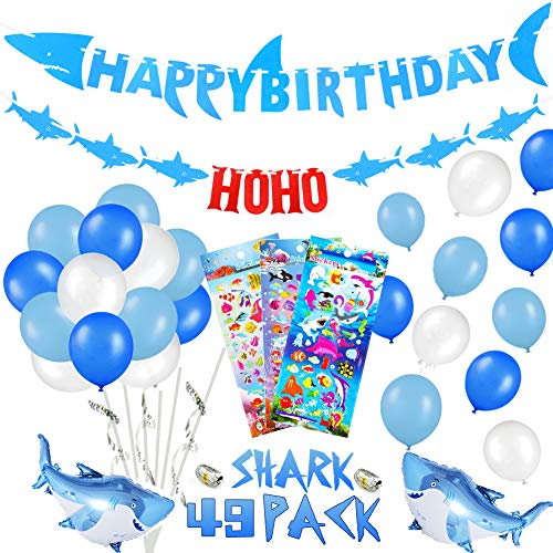 39 PACK Shark Birthday Party Decorations for Kids - Shark Happy Birthday Banner, Ocean Color Balloons, Mini Shark Balloons, Cute Cartoon Puffy Stickers | Aster Birthday Supplies Set for 1st 2nd 3rd 4-12 year Boys]()