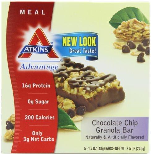 Atkins Advantage Granola Bars, Chocolate Chip, 5/1.7 Ounce (Pack of 2 (Atkins Advantage Chocolate Chip Granola Bar)
