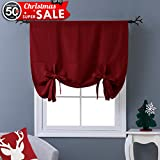 "NICETOWN Thermal Insulated Burgundy Blackout Curtain - Tie Up Shade for Kitchen Window (Rod Pocket Panel, 46""W x 63""L)"