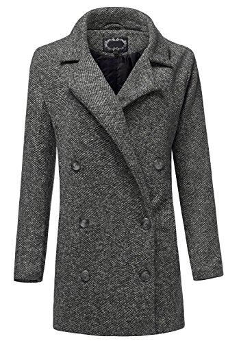 Luna Flower GJAW028 Women's Long Sleeve Double Breasted Marled Design Coat With Pockets Black (Double Breast Pocket)