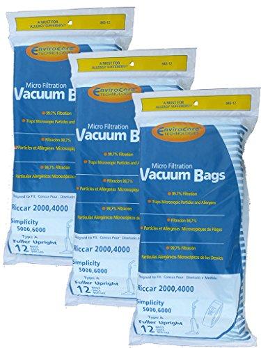 36 Riccar 2000 4000 Simplicity 5000 6000 Type A Upright Vacuum Cleaner Bags Bernina, Fuller Brush, Panasonic, Belvedere