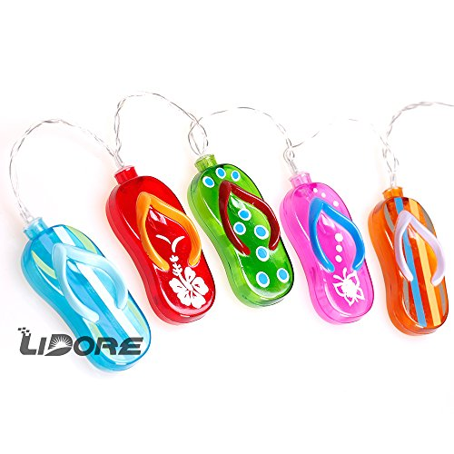 Flip Flop Party string lights by LIDORE. Best Ambiance Lighting for Indoor Outdoor Valentine's Day Party Decoration. Set of 20 LED Summer Lights with 3AA Battery Operated