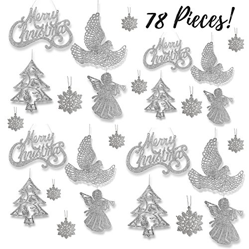 Christmas Decorations In White - Silver Christmas Ornaments - Pack Of 78 Silver Glitter Ornaments - Merry Christmas, Angels, Doves, Xmas Trees And Snowflakes - Christmas Decorations