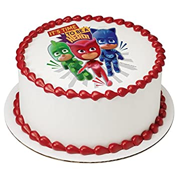 "PJ Masks Its Time To Be a Hero Licensed Edible 8"" Round Cake ..."