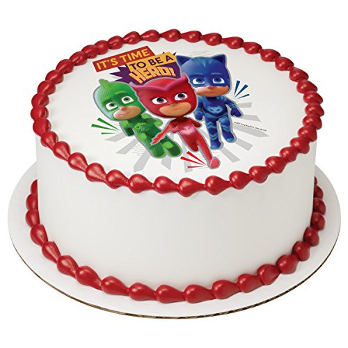 "Price comparison product image PJ Masks It's Time To Be a Hero Licensed Edible 8"" Round Cake Topper 44535"