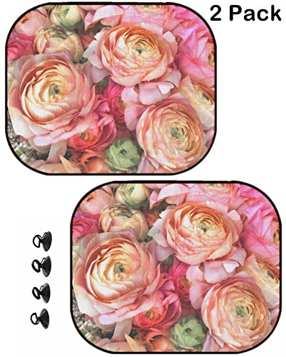 MSD Car Sun Shade Protector Block Damaging UV Rays Sunlight Heat for All Vehicles, 2 Pack Image ID 23898219 Bouquet of Pink Peony Floral (Floral Pattern Shade)