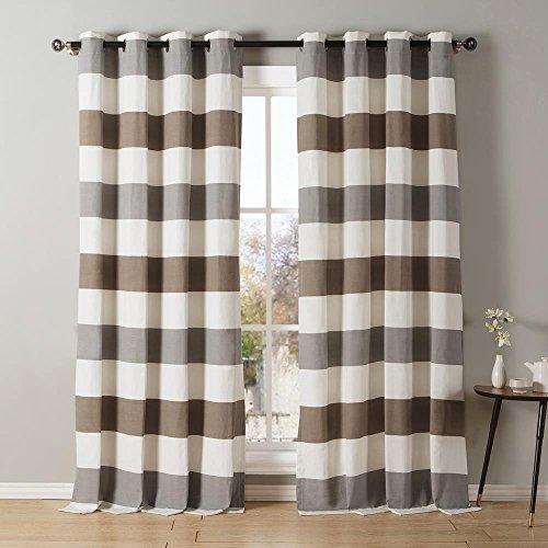 Kensie - Iouri Wide Stripe Cotton Blend Grommet Top Window Curtains for Living Room & Bedroom - Assorted Colors - Set of 2 Panels (54 X 84 Inch - Grey & Latte)