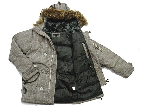 New Monarchy Men's Goose Down Parka With Attached Hood - Grey (M ...