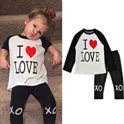 AMA(TM) Kids Baby Girls Long Sleeve T-shirt +Pants Valentine's Outfits Clothes Set (2/3T, Black)