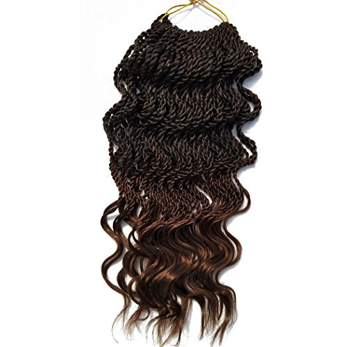 6Packs 18'' Wavy Senegalese Twist Crochet Braid Hair Wavy Ends Synthetic Hair Extensions for Black Women (18