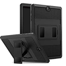 MoKo Tab S2 9.7 Case, [Heavy Duty] Shockproof Defender Full Body Rugged Hybrid Cover with Built-in Screen Protector for Samsung Galaxy Tab S2 9.7/S2 Plus 9.7 LTE Android 6.0/7.0 2017 Version, BLACK