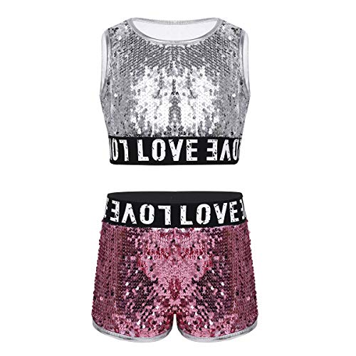 Yeahdor Kids Girls Shiny Sequins Hip-hop Jazz Performance Costumes 2 Pieces Dancing Outfits Crop Tops with Shorts Set Silver 5-6]()
