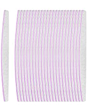 Beautyflier Pack of 24 Double Sided Nail Files 100/180 Grit Emery Board White Manicure Pedicure Tool Nail Buffering Files