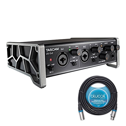 Tascam US-2x2 USB Audio/MIDI Interface Bundle with Blucoil 20-FT Balanced XLR Cable