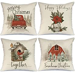 Christmas Farmhouse Home Decor AENEY Christmas Decorations Pillow Covers 18×18 Set of 4, Red Barn Truck Bird Rustic Winter Holiday Throw Pillows… farmhouse christmas pillow covers