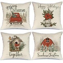 Christmas Farmhouse Home Decor AENEY Christmas Pillow Covers 18×18 Set of 4, Red Barn Truck Bird Rustic Winter Holiday Throw Pillows Farmhouse… farmhouse christmas pillow covers