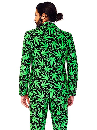 OppoSuits Men's Cannaboss Party Costume Suit, Black/Green, 52 by OppoSuits (Image #2)