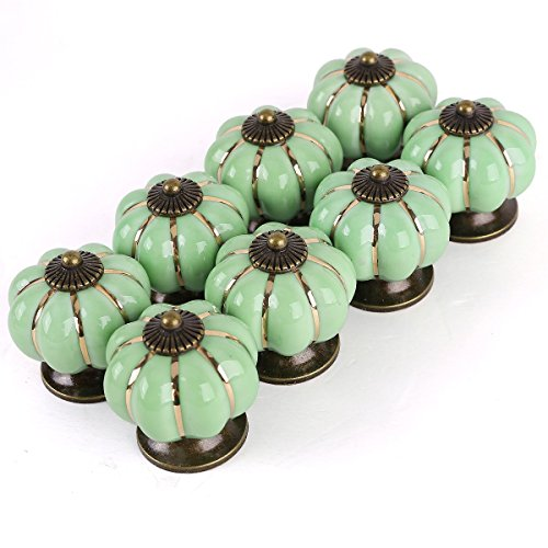 Furniture Handles - TOOGOO(R)8 Design Pumpkin Porcelain Knobs Furniture Handles Furniture knob Furniture knob luxury green by TOOGOO(R) (Image #2)
