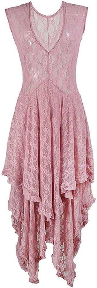 BAOHOKE Womens Elegant Sleeveless Irregular Lace Tiered Dress,Sexy Party Maxi Dresses