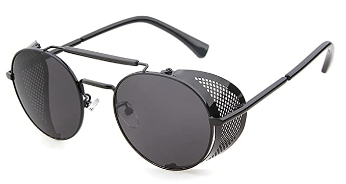 Flowertree STY056 Metal Frame Side Shield Oval 52mm Sunglasses (black+grey)