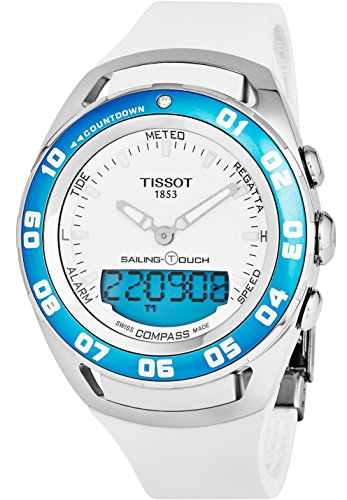 Tissot T-Touch Sailing Touch Multi-Function GMT Perpetual Calendar Analog Digital Alarm Watch - Chronograph stopwatch, Countdown, Compass, White Rubber Band Luminous Swiss Watch T056.420.27.011.00 - 515AYCnHCRL - Tissot T-Touch Sailing Touch Multi-Function GMT Perpetual Calendar Analog Digital Alarm Watch – Chronograph stopwatch, Countdown, Compass, White Rubber Band Luminous Swiss Watch T056.420.27.011.00