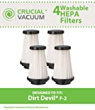 4 Highly Durable Washable & Reusable Dirt Devil F2 HEPA Filters; Compare to Dirt Devil Part Nos. 3SFA11500X, 3-F5A115-00X, 2SFA115000, 42112; Designed & Engineered By Think Crucial