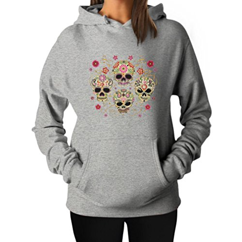 Rose Eye Sugar Skulls - Day of The Dead Gothic Women's Hoodie Large Grey -