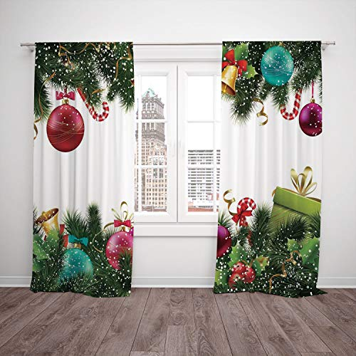 iPrint Thermal Insulated Blackout Window Curtain,Christmas,Happy New Year Greeting Decoration with Holly Garland Artful Design,Green Maroon,Living Room Bedroom Kitchen Cafe Window Drapes 2 Panel Set