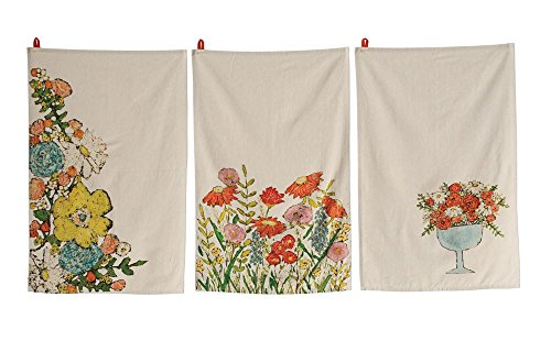 Floral Pattern Natural Background 28 x 18 Cotton Decorative Tea Towels, Set of 3