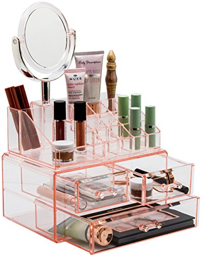 Sorbus Acrylic Cosmetic Makeup and Jewelry Storage Case Display with Removable Magnifying Mirror - Spacious Design - Great for Bathroom, Dresser, Vanity, and Countertop (Pink) (Pia Vanity)