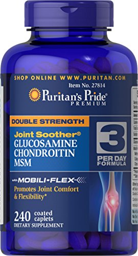Puritan's Pride Double Strength Glucosamine, Chondroitin, and MSM Joint Soother, Joint Support Supplement, 240 Coated Caplets
