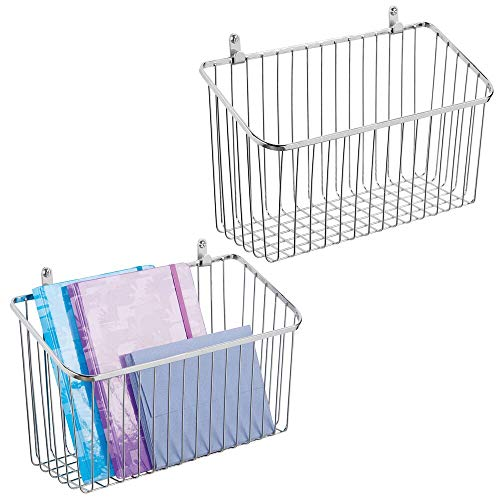(mDesign Portable Metal Farmhouse Wall Decor Angled Storage Organizer Basket Bin for Hanging in Entryway, Mudroom, Bedroom, Bathroom, Laundry Room - Wall Mount Hooks Included, Small - 2 Pack - Chrome)