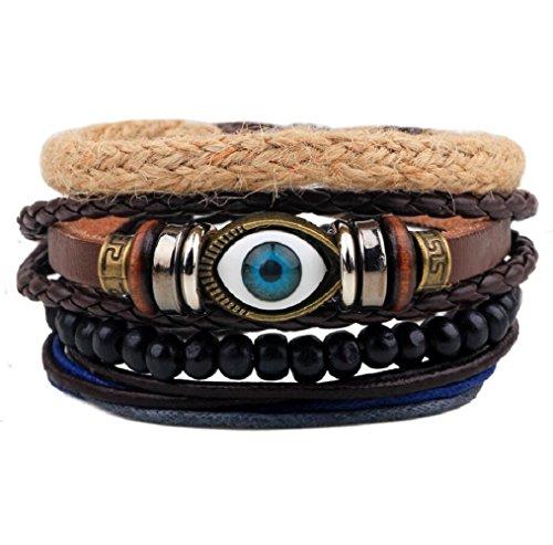 [Fariishta Jewelry Hemp Rope Evil Eye Wooden Bead Braided DIY Leather Bracelet] (Hindu Bride Costume)