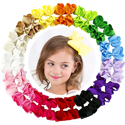 4.5 Inch Hair Bows Grosgrain Ribbon Boutique Hair Bow Clips For Girls Teens Toddlers Kids Set Of 30 (15 Colors - Stack Navy Summer Blue