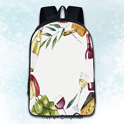 - Fashion Shoulders Bag Travel Bags,Wine Round Frame with Hand Painted Food Objects Watercolor Wine Cheese Fruits Collection Multicolor 16 inches,Luggage Packsack Multipurpose Use Daily Carry