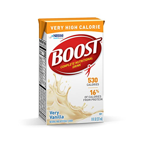 Boost VHC Very High Calorie Complete Nutritional Drink, Very Vanilla, 8 fl oz Box, 27 Pack (Best High Protein Drink For Elderly)