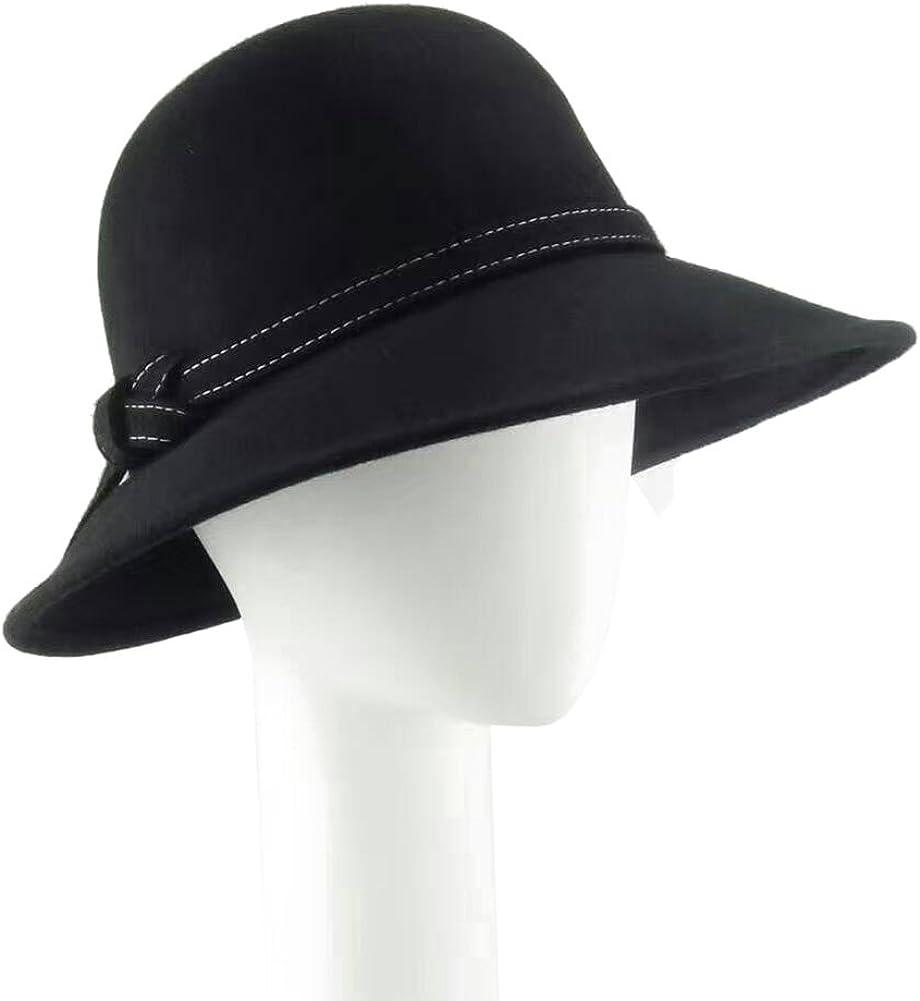 HATSUP Womens Wide Brim Wool Ribbon Band Floppy Hat Black