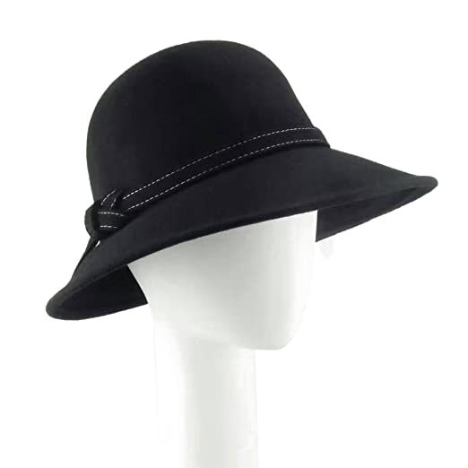 7c4f3bae03f Image Unavailable. Image not available for. Color  HATSUP Women s Wide Brim  Wool Ribbon Band Floppy Hat Black