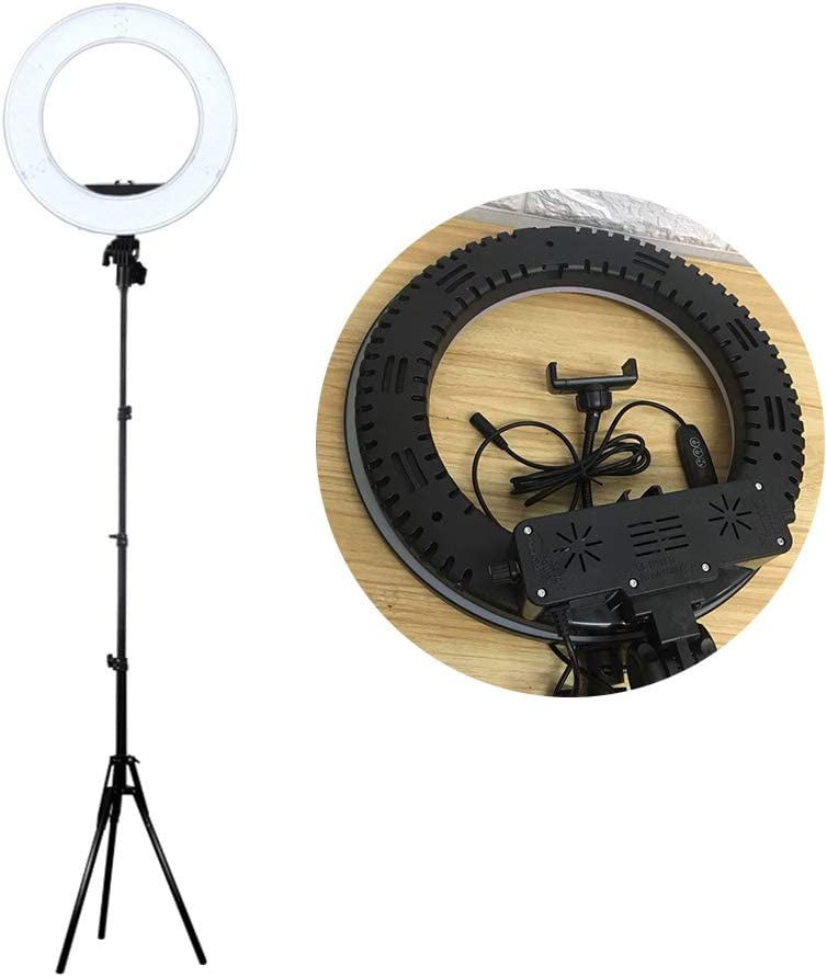 Black UKCOCO 14 Inch LED Mobile Live Supplementary Light,Selfie Ring Light,Photography Ring Lamp Beauty Lamp,Cell Phone Holder for Live Stream No Tripod Included