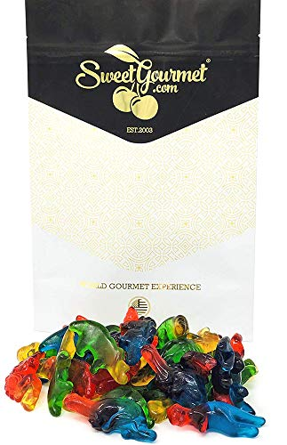 Haribo Gummi Dinosaurs Candy | Bulk Dino Gummy | Strawberry, Mango, Banana, Melon, and Blackcurrant | 1 pound