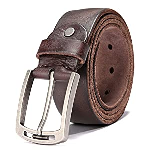 Men's Italian Cow Leather Belt Men With Anti-Scratch Buckle (Type 1, 115CM ( waistline:36''- 40'' ))
