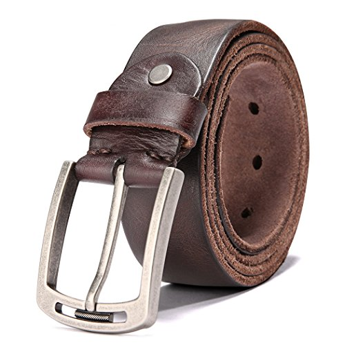 Men's Italian Cow Leather Belt Men With Anti-Scratch Buckle (Type 1, 115CM (waistline-33''- 39'')), 1001-brown (Belt Leather Dark)