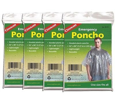 Coghlan's 9173 Emergency Poncho 4 Pack