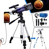 Telescope for Kids Adults Astronomy Beginners, 150X HD Refractor Telescope for Astronomy, 70mm Starter Scope with Tripod, Phone Adapter, Wire Shutter, Moon Filter