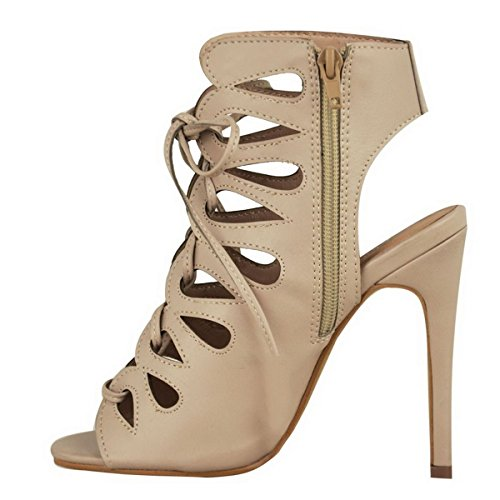 WOMENS LADIES NEW HIGH STILETTO HEEL CUT OUT GLADIATOR LACE UP ZIP UP ANKLE PARTY WEDDING SANDALS SHOES SIZE Nude Beige Faux Leather DdHGik