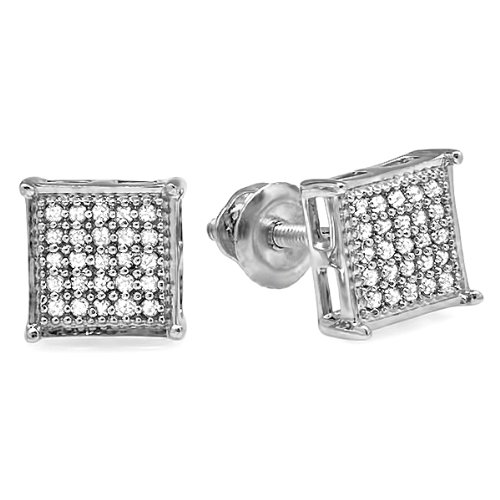 0.15 Carat (ctw) 10K White Gold Real Diamond Square Mens Hip Hop Iced Stud Earrings by DazzlingRock Collection