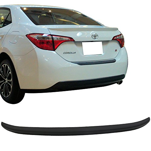 Trunk Spoiler Fits 2014-2018 Toyota Corolla | Factory Style Matte Black ABS Car Exterior Trunk Rear Wing Tail Roof Top Lid by IKON MOTORSPORTS | 2015 2016 2017
