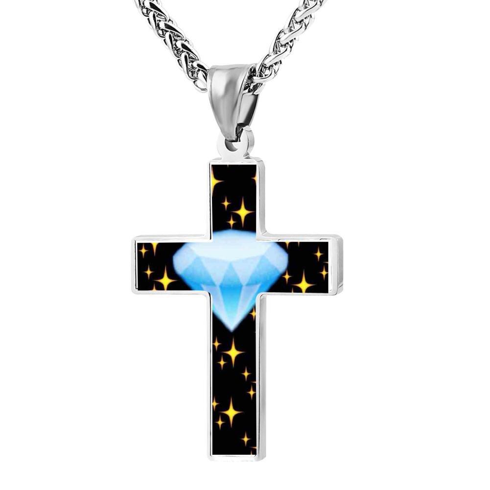 Polished Cute diamond 2 Christian Cross Necklace Religious Jewelry Pendant