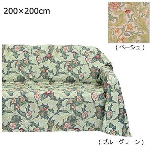 川島織物セルコン Morris Design Studio レスターアカンサス マルチカバー 200×200cm HV1714 BGグリーン   B07RYPJGK2