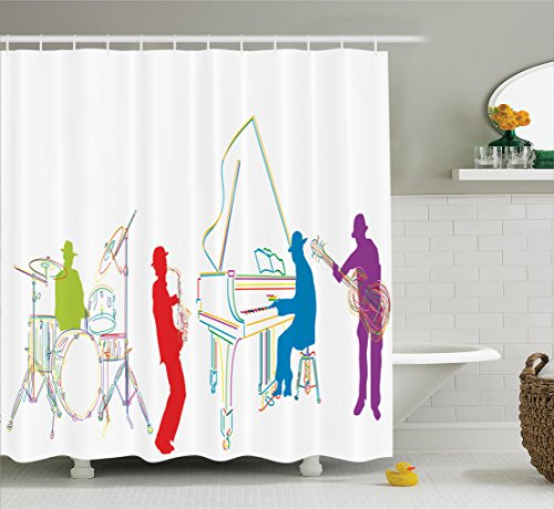Band Instrument Accessories (Jazz Music Decor Shower Curtain Set By Ambesonne, Vibrant Colored Jazz Band With Instruments Modern Illustration Retro Style Music Art Print, Bathroom Accessories, 69W X 70L Inches, Multi)